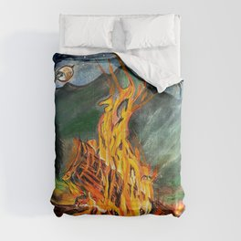 'Life Goals' Original Campfire Pastels Art - by Dark Mountain Arts Comforters