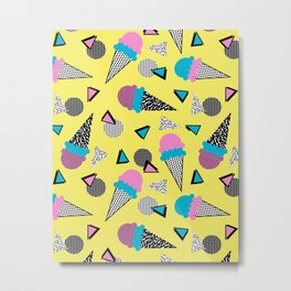 Cruncher - memphis throwback ice cream cone desert 1980s 80s style retro geometric neon pop art Metal Print