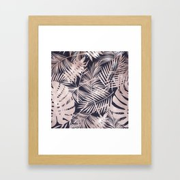 Metallic Blush Leaf Pattern Framed Art Print