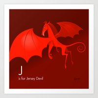 J is for Jersey Devil Art Print