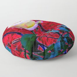 YELLOW ROSE  ON RED ROSES GARDEN ABSTRACT Floor Pillow