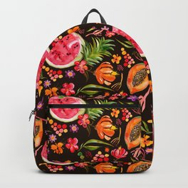 Tropical Fruit Festival in Black | Frutas Tropicales en Negro Backpack