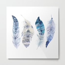 Boho Blue Watercolor Feathers Metal Print