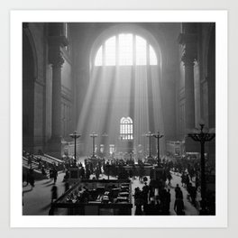 Penn Station, Rays of Light black and white photograph - black and white photography Art Print