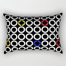 White Circles and Primary Color Rings Rectangular Pillow
