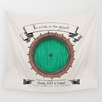 hobbit Wall Tapestries featuring There lived a hobbit by Cécile Pellerin