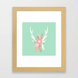 Deer antler florals flower bouquet with antlers minimal boho nursery art decor Framed Art Print