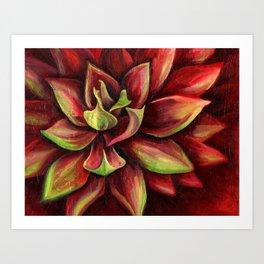 Red Succulent Cactus, Blue Flame Agave, Caliente Art Print