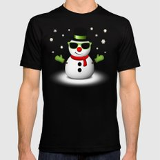 Cool Snowman with Shades and Adorable Smirk Mens Fitted Tee X-LARGE Black