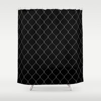 the wire Shower Curtains featuring Wire Fence by Crazy Thoom