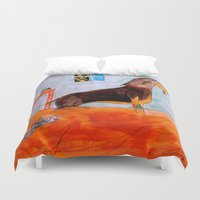 dachshund Duvet Covers featuring Dachshund by Caballos of Colour