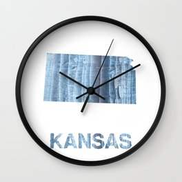 Kansas map outline Light steel blue nebulous watercolor paper Wall Clock