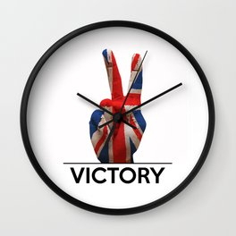 Hand making the V sign united kingdom country flag painted Wall Clock