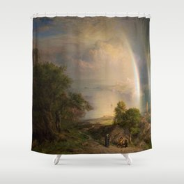 Aegean Sea Landscape by Frederic Edwin Church Shower Curtain