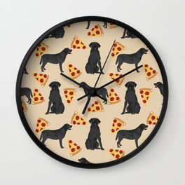 Black Lab pizza cute funny dog breed pet pattern labrador retriever Wall Clock