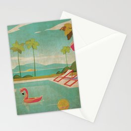Palm Springs Life Kitschy Retro Vintage Landscape Watercolor Mid Century Stationery Cards