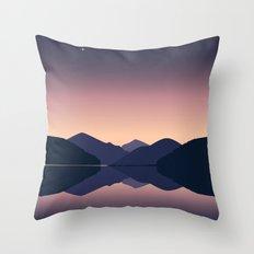Mountain sunset reflection Throw Pillow