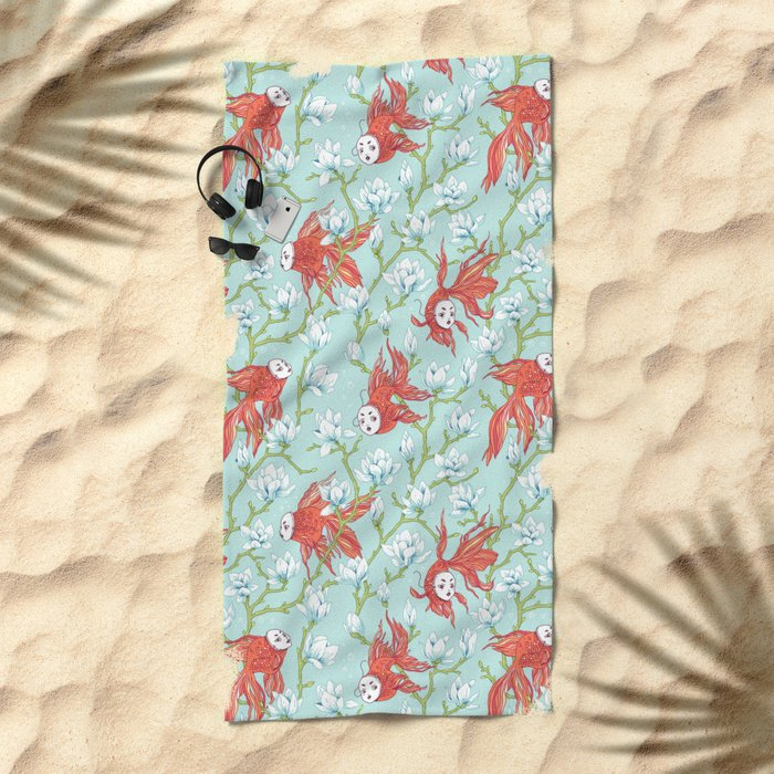 Goldfish, Mask and Magnolia Pattern Beach Towel