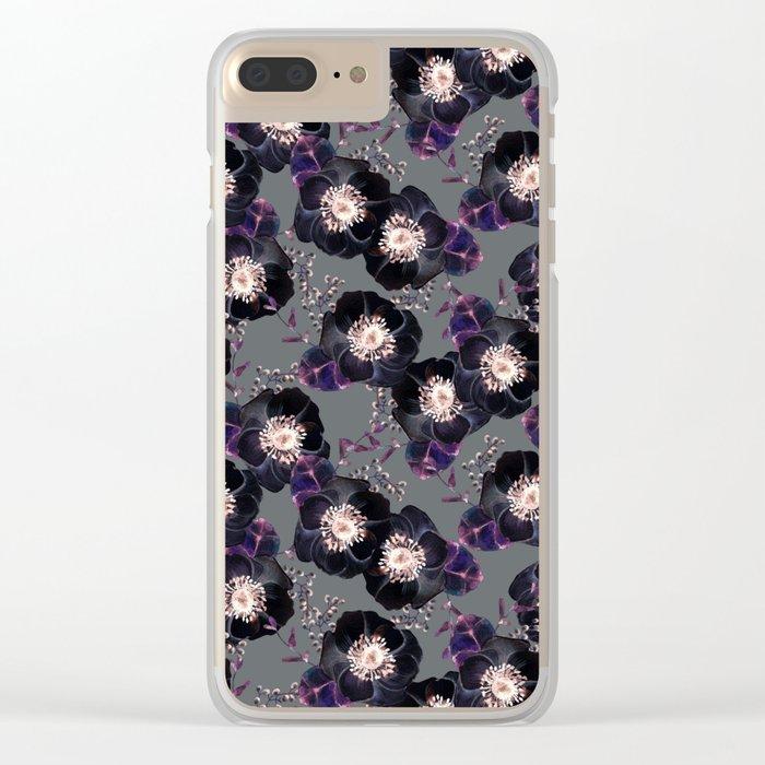 Night Rose Black + Gray Purple Clear iPhone Case