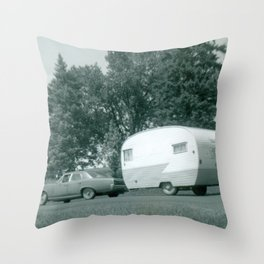 Vintage Shasta Trailer Throw Pillow