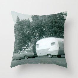 Vintage Shasta Trailer Throw Pillow