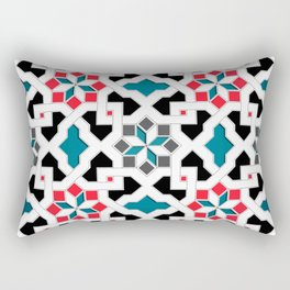 Oriental Pattern - Geometric Design, red / blue / grey Rectangular Pillow