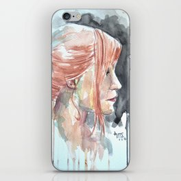 Redhead watercolor iPhone Skin