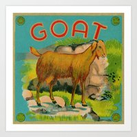 goat Art Prints featuring Goat! by Connie Goldman