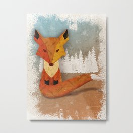 Fox in the Woods Metal Print