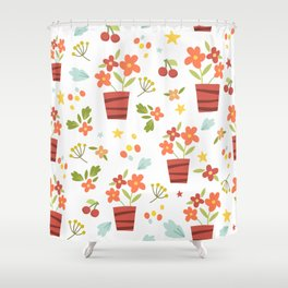 Kids Flower Pots Shower Curtain