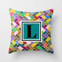 monogram Throw Pillows featuring L Monogram by mailboxdisco