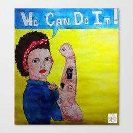 Black Rosie the Riveter Canvas Print