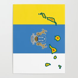 Canary Islands Flag with Map of the Canary Islands Islas Canarias Poster
