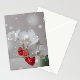 Hearts Valentines Day Red White Orchid Flower Stationery Cards