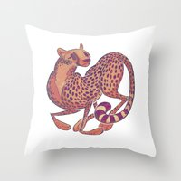 cheetah Throw Pillows featuring Cheetah by Anya McNaughton