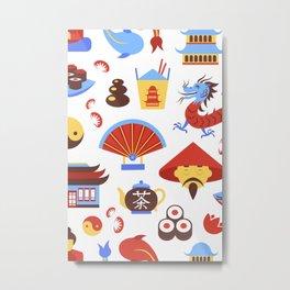 China viajes símbolos de la cultura tradicional china patrón transparente ilustración vectorial Metal Print