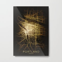 portland Oregon usa city night light map Metal Print