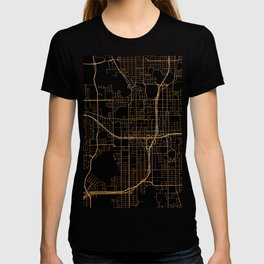 Black and gold Orlando map T-shirt