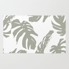 Simply Retro Gray Palm Leaves on White Rug