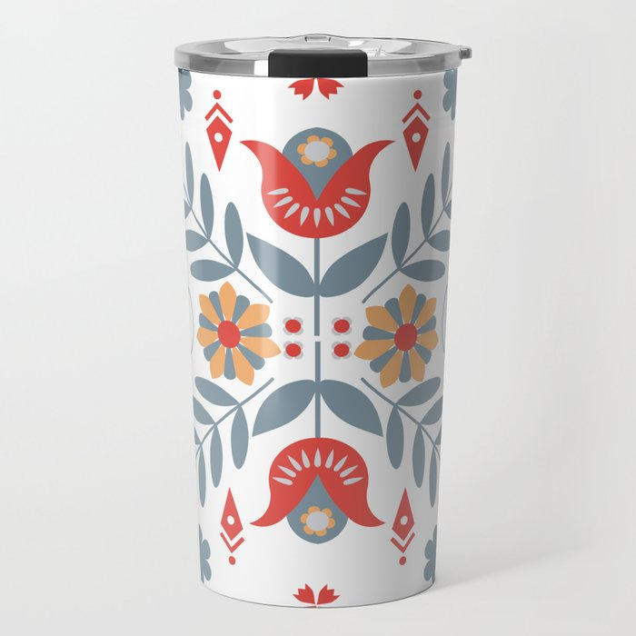 Scandinavian Folk Art Travel Mug