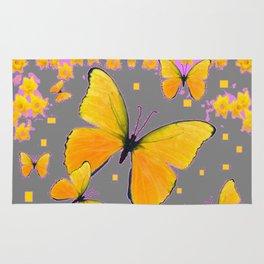 YELLOW BUTTERFLIES FLORAL PINK-GREY ART Rug