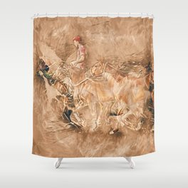 Abstract master of the horse Shower Curtain