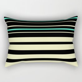 Striped turquoise olive Rectangular Pillow