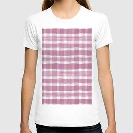 Watercolor Brushstroke Plaid Pattern Pantone Magenta Haze Purple 18-2525 T-shirt