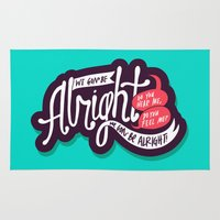 kendrick lamar Area & Throw Rugs featuring Alright by Chelsea Herrick