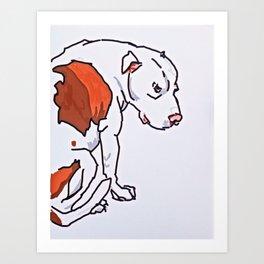 Pretty Pittie Dog Portrait Art Print