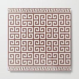 Greek Key (Brown & White Pattern) Metal Print