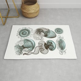 Ernst Haeckel Jellyfish Leptomedusae Cyan Brown Rug