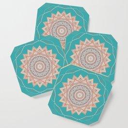 Bright Aqua Star Mandala Design Coaster