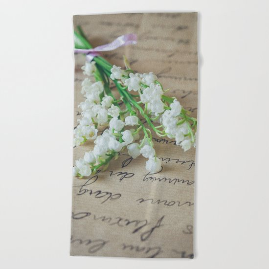 Love letter with lily of the valley Beach Towel
